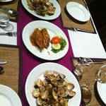 Fried mackerel with fish sauce & clams