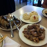 Sticky rice wrapped in lotus leaf, steamed BBQ pork buns, and pork short ribs!