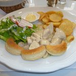 Meal #2 @ Cafe Au Lait Biscuits, salad, firtes, chicken in gravy, delicious!!