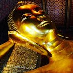 The serene face of the 161ft reclining Buddha