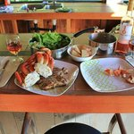 Surf and Turf dinner cooked up in the barbeque gazebo