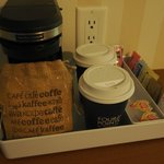 In-room coffee maker with complimentary coffee and tea