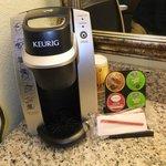 Keurig coffee maker in our room.