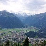 View of Interlaken from atop Harder Kulm. Mount Jungfrau at the backdrop.