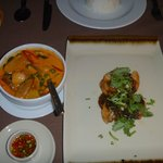 Grilled seabass and red duck curry