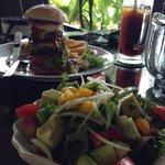 Burger and avocado salad
