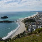 Mount Maunganui and coast from the Mount