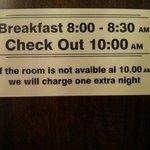 Frühstück kostet extra