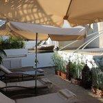 vue de la terrasse et piscine