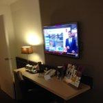 Nice big tv and workstation