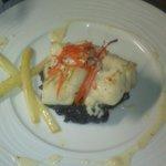 Dos de cabillaud et son risotto noir