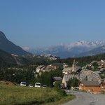 View of village, short walk uphill