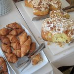 breakfast buffet, with Dove cake for Easter
