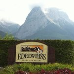 front entrance to the Edelweiss Lodge & Resort with the Zugspritze in the background.
