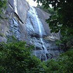 First glimpse of Hickory Nut Falls from the path.