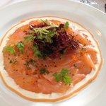 Raw Marinated Salmon in olive oil and fennel