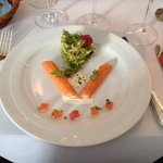 Pannequet of Smoked Salmon with salmon roe and mussel sauce
