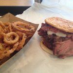 Onion rings and Junior sized roast beef sandwich