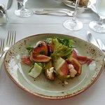 Black Missoni Figs, Edward's Surryano ham, summer stone fruits