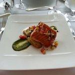 Scottish Salmon, Sicilian capo a tan fingerling potatoes and salsa verde