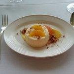 Mascarpone Cheesecake, lemon curd, citrus supremes, graham streusel