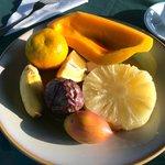 Fruit plate for breakfast.