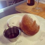 Bounuts!!! Boudin stuffed donuts dusted with powdered sugar & served with Poirer's Cane Syrup.