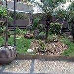 Jardim, vista do salão do café da manhã
