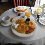 Breakfast was peach pancakes that were so yummy!