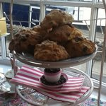 Beautiful freshly baked scones in fruit or plain