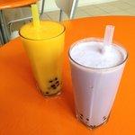 Mango & taro bubble tea