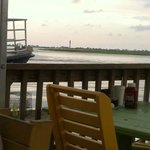 View from dinner at Fishy Fishy... Oak Island lighthouse