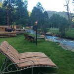 F. Nice lounge area by creek with pretty views