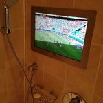 The hotel made sure I didn't miss the World Cup match while showering