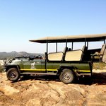 Safari vehicle stopping for afternoon tea