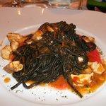 black cuttlefish tagliatelle with swordfish