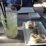 """Salmon/asparagus roll, and """"shiso serious"""" cocktail"""