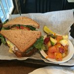 Turkey on wheat with fruit salad