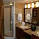 Walk-in shower (jacuzzi tub is just outside the bathroom between the bedroom entrance)