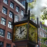 Steam clock playing Westminster Chimes.
