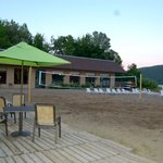 beach bar, portion of beach, and volleyball net that we so enjoyed!