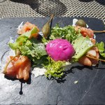 Smoked Salmon with beetroot sorbet