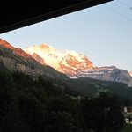 bedside view of sunset on the Jungfrau