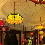 The ceiling at 'The Parasol Lounge', where the patio looks out onto the 'Lake of Dreams'