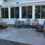 Outside patio to enjoy coffee, ice cream, of just the weather.
