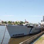 Submarine at anchor