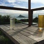 Drinks overlooking St Michaels Mount