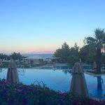 Sun set over the pool