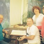 Kobi with guests Sheila, Roger and Abi Levitt in the conservatory