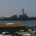 A battleship passes by our outside deck in the SD bay!